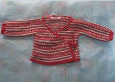 one-piece knit baby kimono with simple fairisle - free pattern