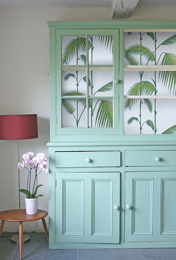 Cole and Son wallpaper - Palm Leaves - in back of pretty green dresser - Romolly on etsy