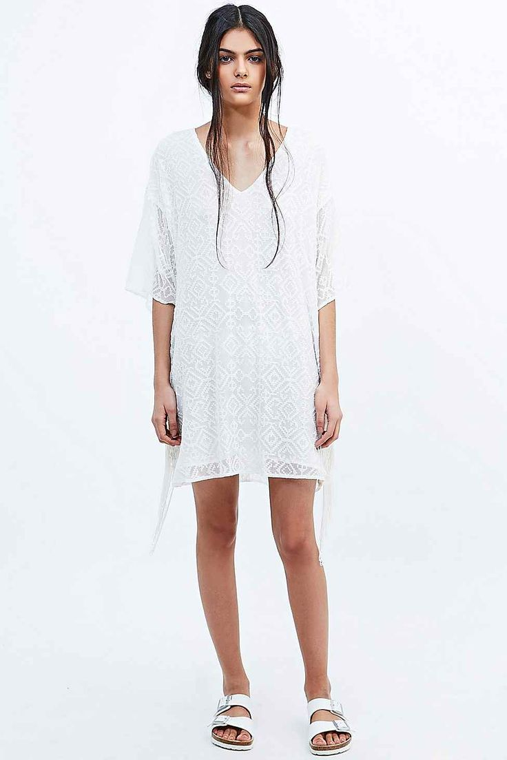 Staring at Stars Fringed Tee Dress in Ivory