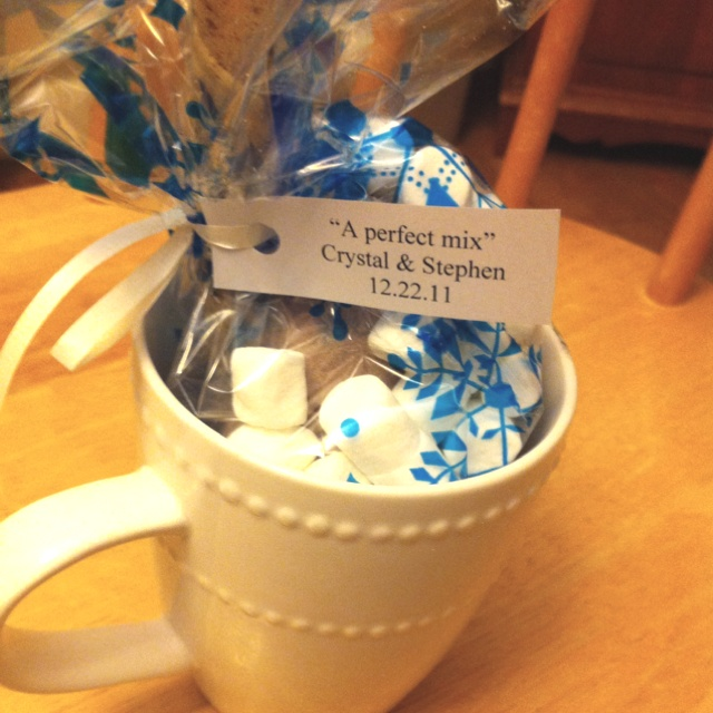 A great bridal shower party favor idea for a winter wedding. :-) Created by me!