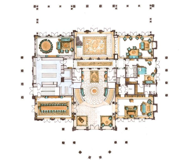 Luxury Mansion Floor Plans: 9577 Sunset Blvd, Beverly Hills - Main Level