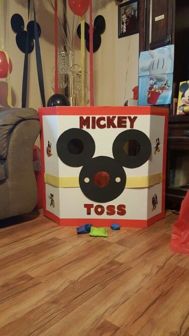 My Homemade Mickey Mouse Bean Bag Toss I Made For Son Giovannis 1st Birthday