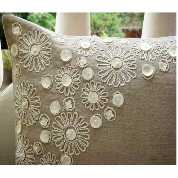 Ecru Pillow Cases, 16″x16″ Cotton Linen Pillows Covers For Couch, Square Pearl Flower Mother Of Pearls Floral Theme Pillows Cover- Elegance