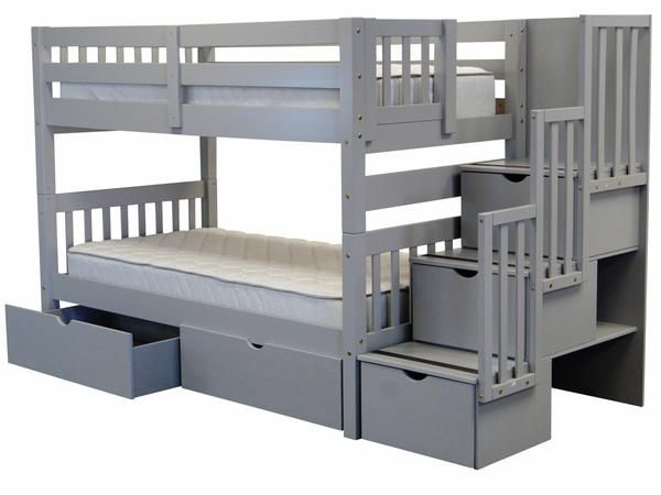 bunk bed twin over twin stairway gray with drawers for only 798