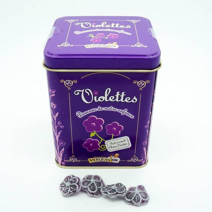 Bonbons à la violette Verquin. Boîte métal 400g