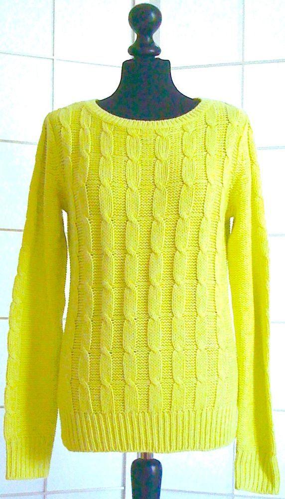 DAMEN-PULLOVER, Limetten-Gelb,Zopfmuster, Größe M in Kleidung & Accessoires, Damenmode, Pullover & Strick | eBay