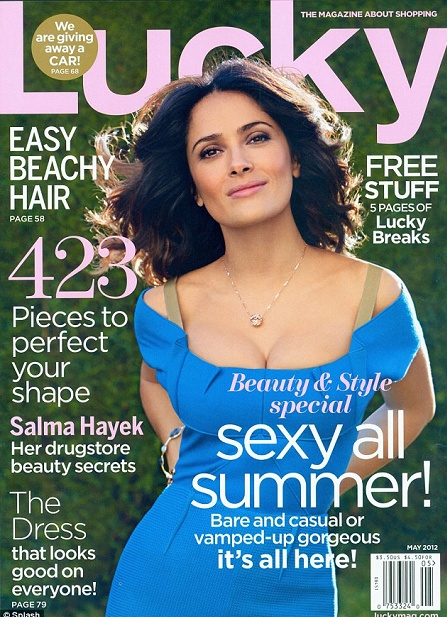Who made Salma Hayek's blue dress that she wore on the cover of Lucky magazine?