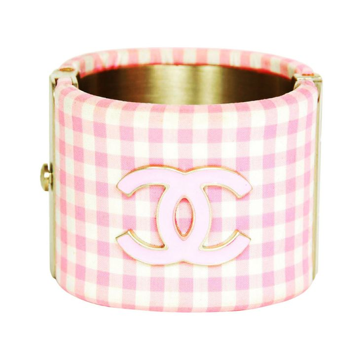 CHANEL Pink & White Gingham Cuff Bracelet W. Enamel Logo CC | From a unique collection of vintage  at http://www.1stdibs.com////