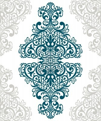 vintage baroque border frame card cover flower motif arabic retro pattern ornate Stock Photo