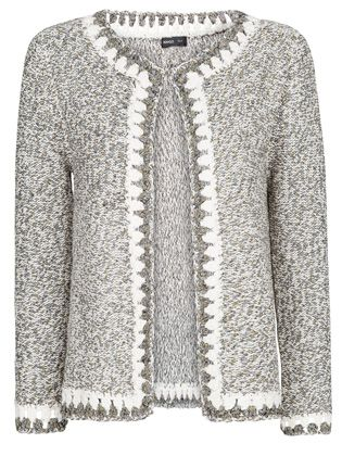crochet knit metallic Coco-like cardigan Mooi randje