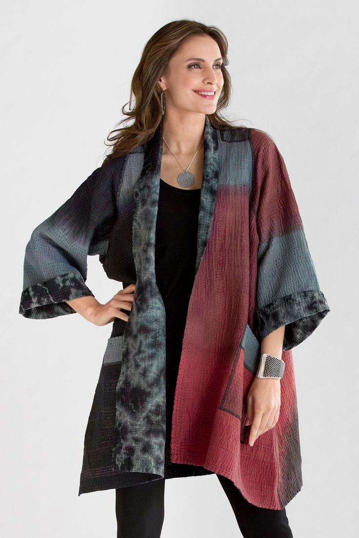 Landscape Ombre Jacket by Mieko Mintz. This fully reversible A-line jacket wows with its stunning hand-dyed fabric: one side has beautifully shifting ombr; gradations, while the other is tie-dyed in dramatic ripples and bursts. Sewn in New York from fabric pieced in India using traditional kantha quilting techniques. Overview: Long sleeves Knee length Reversible design Patch pockets on both front and reverse Hand-stitched, all-over embroidery Each is unique; fabric will vary within the ...
