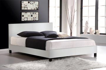 Stylish, faux leather platform bed to get that bedroom makeover started.