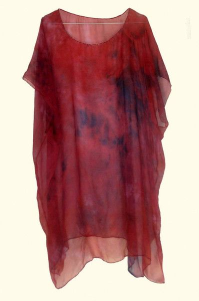Tuniken - Tunika aus handbemaltem Seiden-Chiffon - ein Designerstück von ticinese bei DaWanda