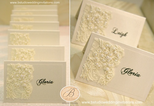vintage lace place cards