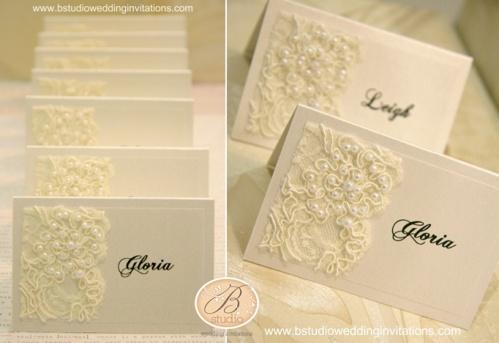 vintage lace place cards