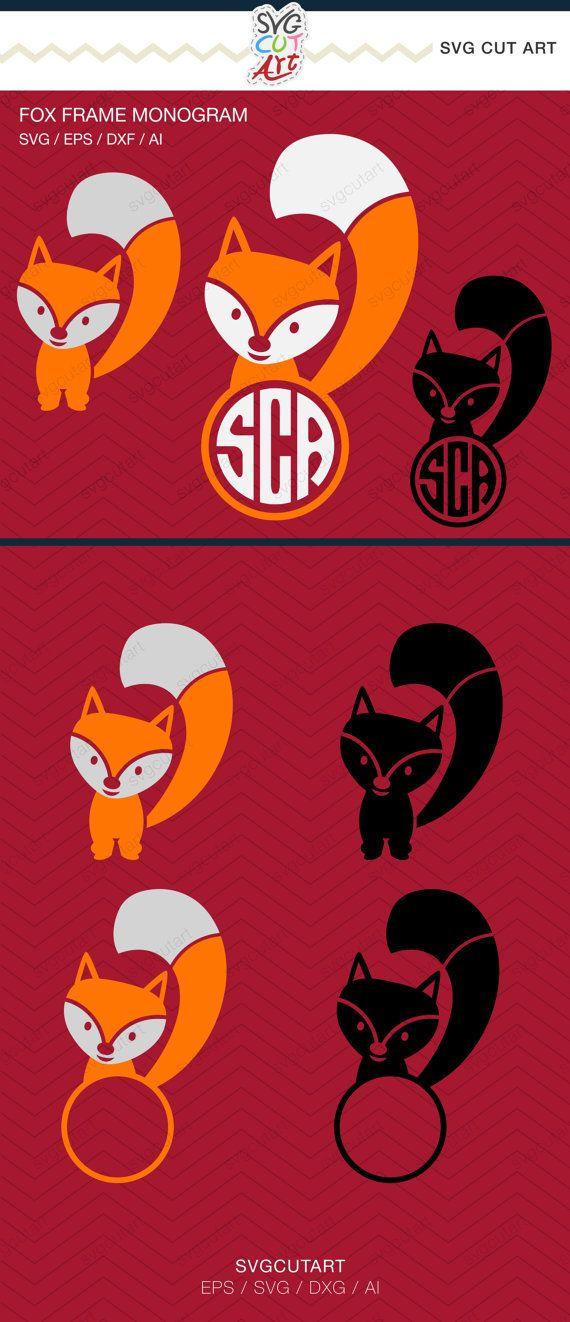 Fox Monogram Frame Animal DXF SVG EPS for Cricut by SvgCutArt