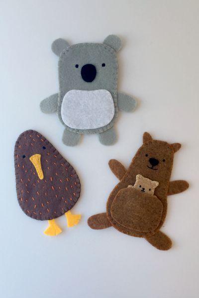 felt australian animal finger puppets