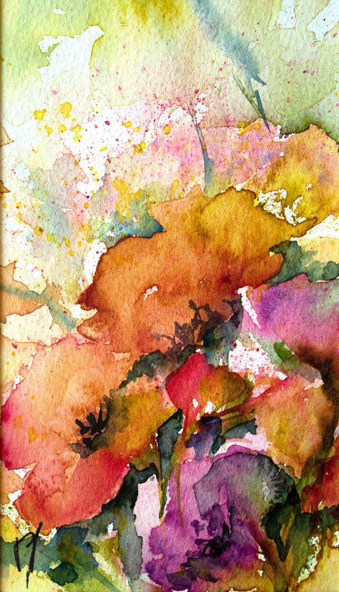 Petit instant N° 229 - Peinture,  15x8 cm ©2014 par Véronique Piaser-Moyen -                                                            Peinture contemporaine, Papier, Fleur, aquarelle, watercolor, piaser, piaser-moyen, fleurs, fleur, flower