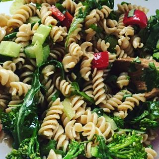 Rocket, Parmesan and broccolini Pasta Salad, ready for tomorrow's lunch #healthyworkfood #Properfoodie