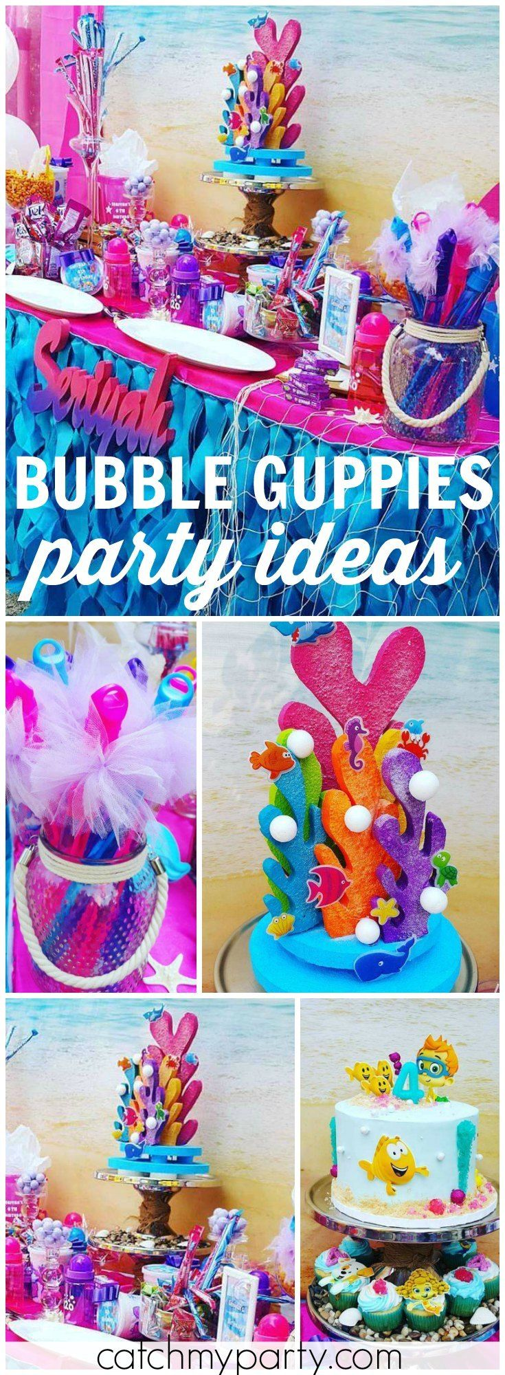 What a beautiful, vibrant Bubble Guppies girl birthday party! See more party ideas at Catchmyparty.com!