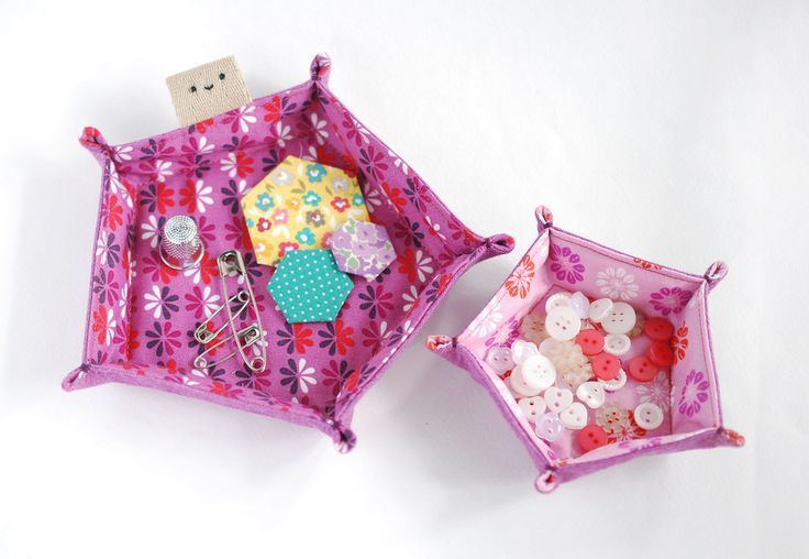 make // hexagon and pentagon fabric trays