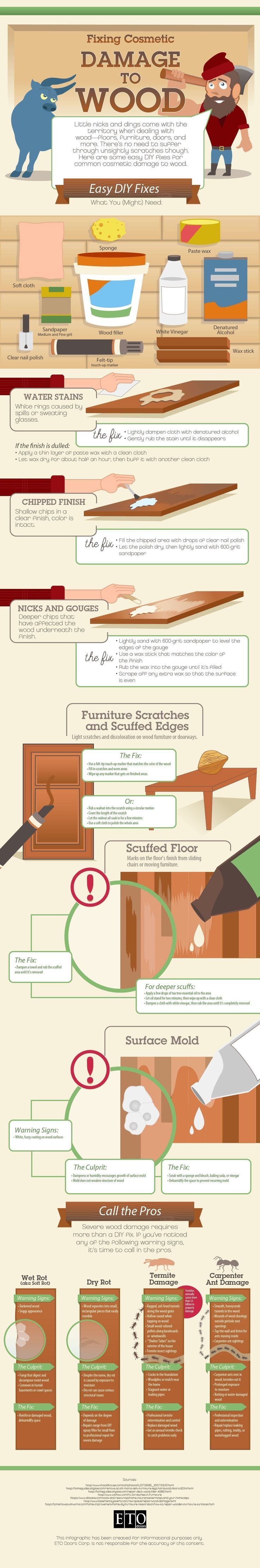 Fixing Cosmetic Damage to Wood #Infographic #DIY #HomeImprovement #woodworkingbench #AmazingWoodworkingShops #woodworkinginfographic #woodworkingtips