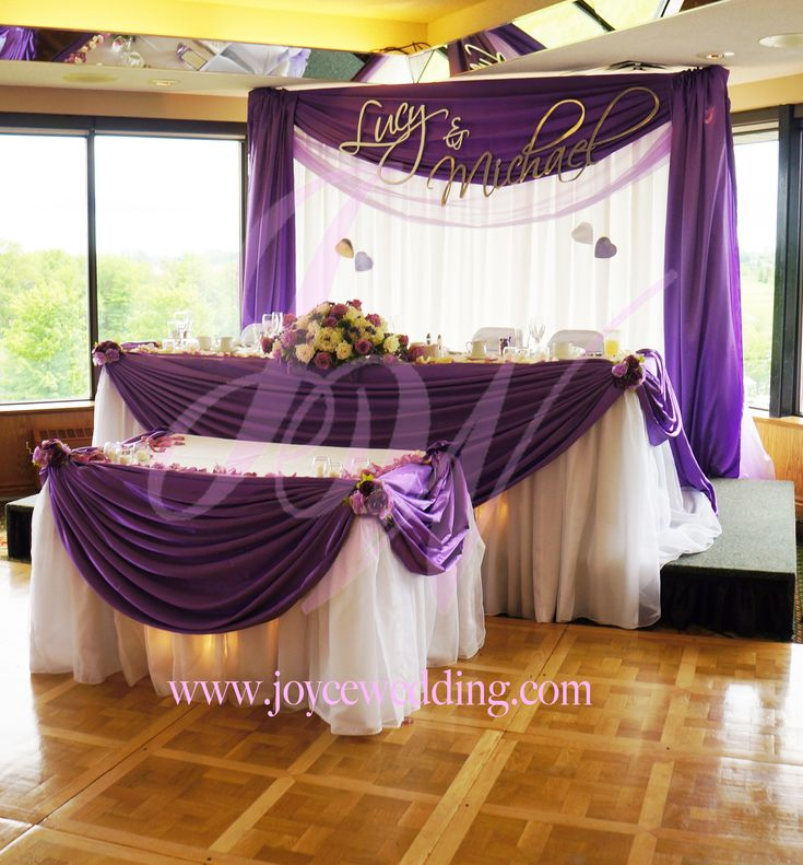 Small backdrop matching drapery styles for head and for Wedding cake table decorations