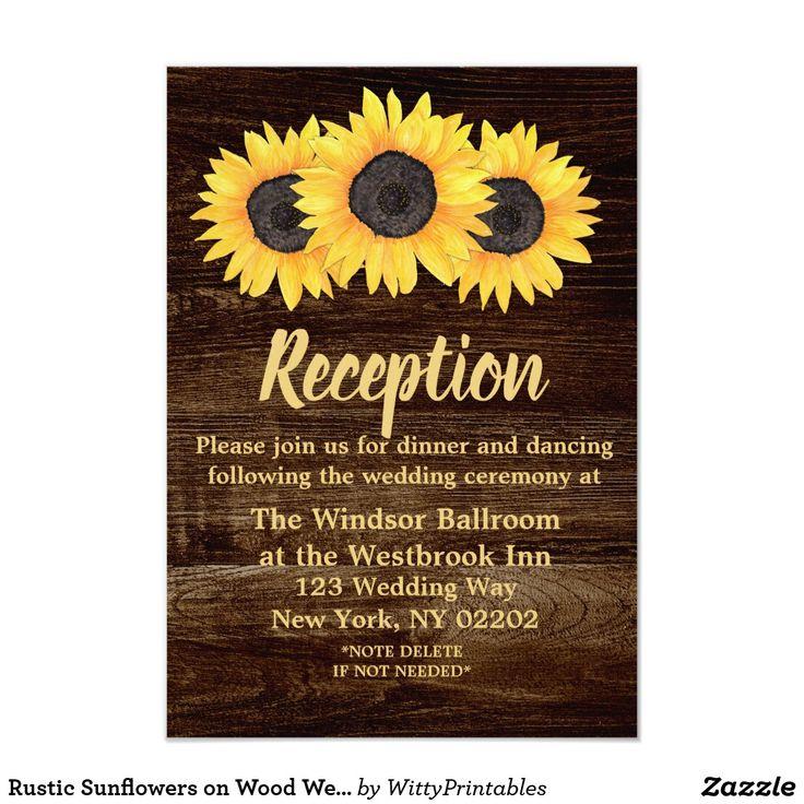 Rustic Sunflowers on Wood Wedding Reception Card