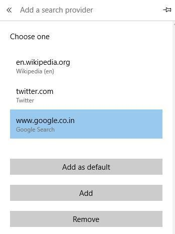 how to youtube wikipedia as search provider in Microsoft Edge browser