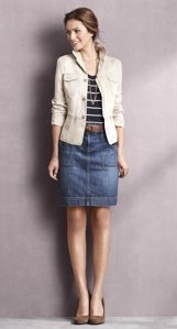 Gotta get me a cute jacket to go with denim skirts.: Casual Friday, Back To Schools, Skirts Outfits, Schools Clothing, Casual Outfits, Jeans Skirts, Denim Skirts, Schools Clothes For, Anne Taylors Loft