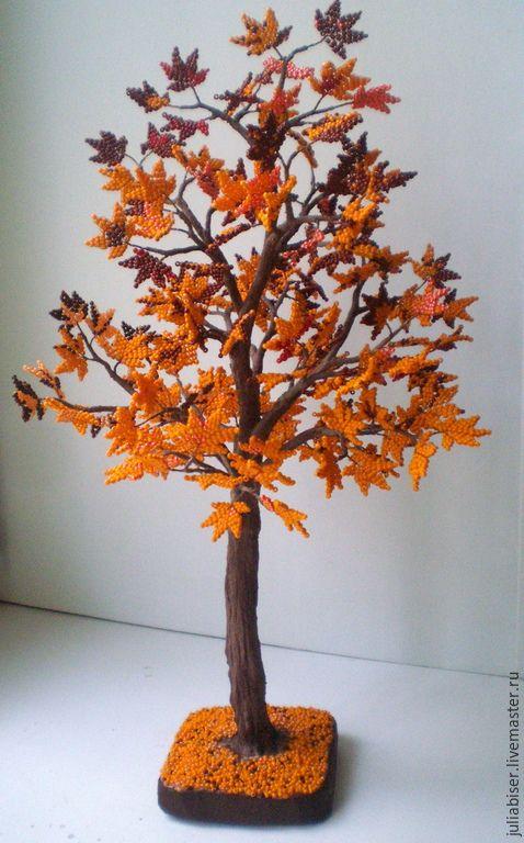 Купить дерево из бисера-осенний клен - желтый, кленовый лист, подарок, красота, осенние листья