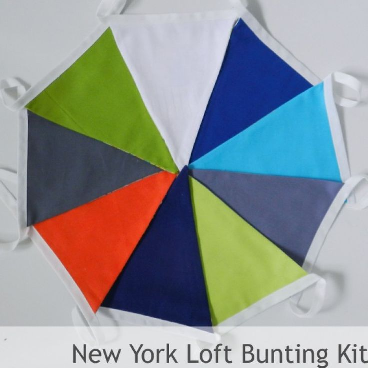 Bunting Sewing Kit - New York Loft Style - all you need to make 3 mtrs of fab bunting! Triangles, specialist bunting tape, full instructions and a fab drawstring bunting bag to store you homemade bunting in! #teenager #boy #bedroom #colourpalette