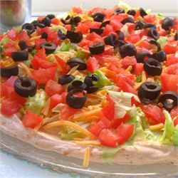 The BEST Taco Dip (don't put olives, SO delicious without them)