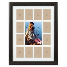 """Craig Frames, 12x16"""" Dark Brown Picture Frame, White Collage Mat, 13 Openings"""
