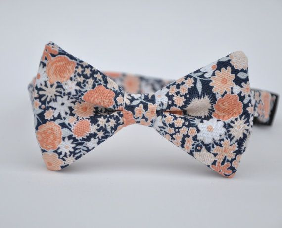 Men's Bowtie Coral Peach and Navy Floral Bow Tie by MeandMatilda