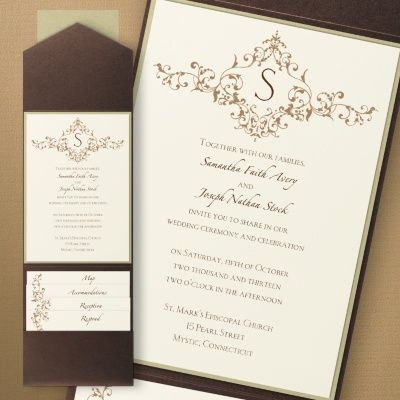 Beautiful Brown And Cream Wedding Ideas   French Floret Layered Pocket Invitation |  Occasions In Print,