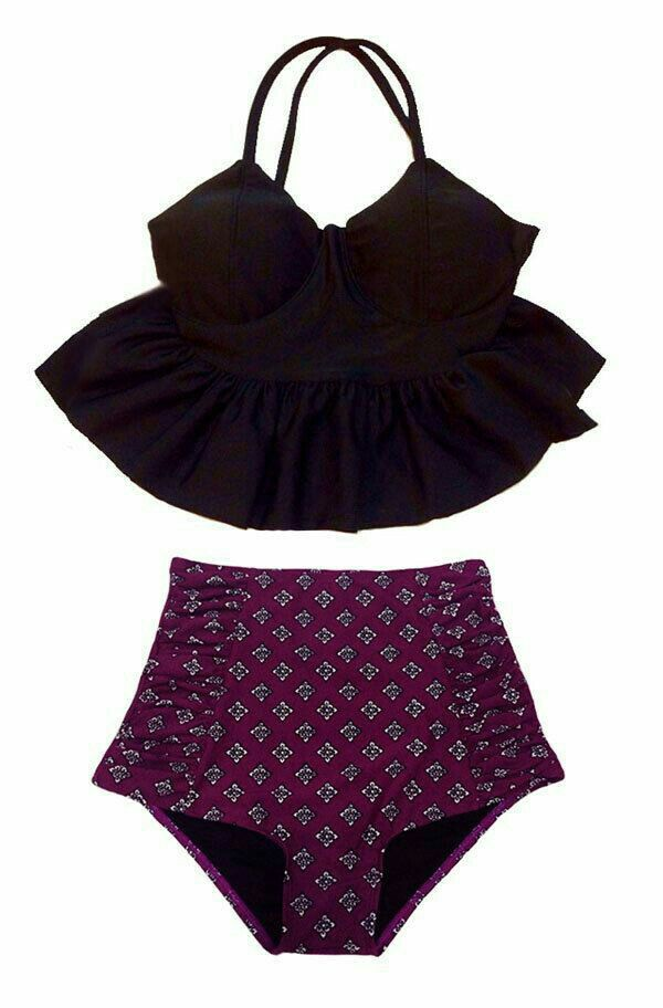 b18aec9961f7a Black Long Peplum Top and Burgundy High waisted waist High-waisted  High-waist Bottom Swimsuit Bikini Bathing suit wear Swim piece pieces S M  by venderstore ...
