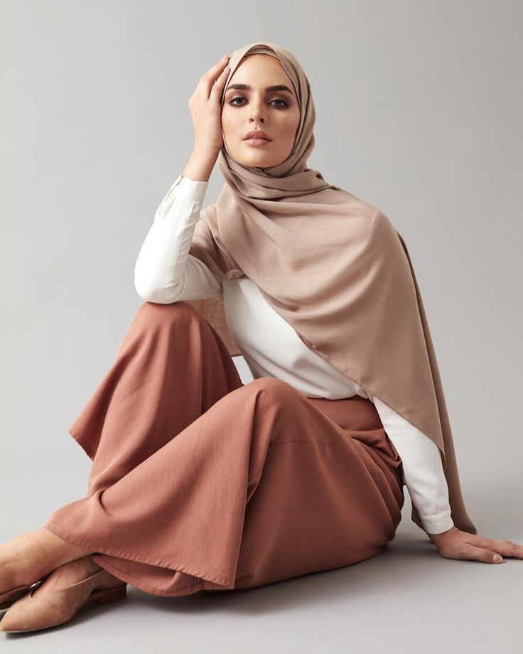 INAYAH | NEW ARRIVALS Mocha Palazzo Pants White Classic Top Washed Sand Light Rayon Hijab www.inayah.co