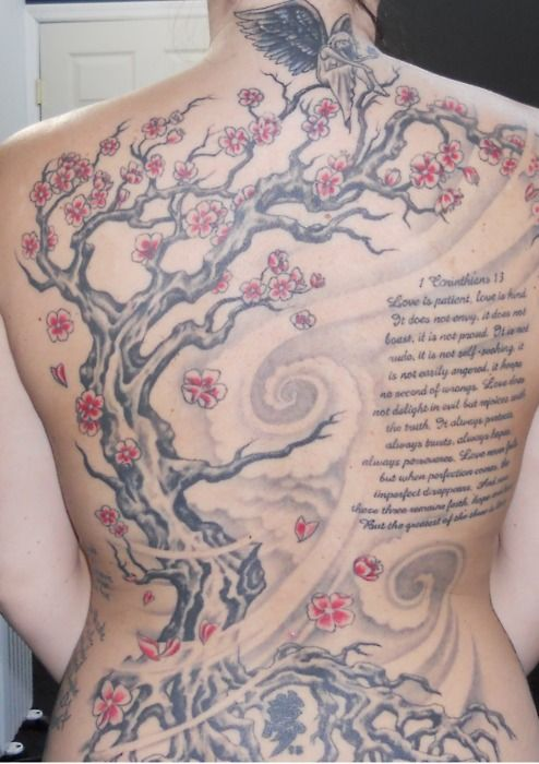 Funny to find my own tattoo on here...cherry blossoms 1st corinthians 13. Done @inkstop tattoo NYC. Eric Rignall