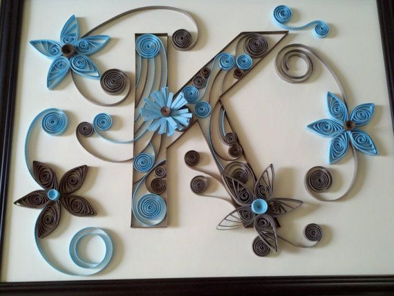 Custom Made Monogram Letters - Paper Quilled Art  - OOAK Handcrafted Framed Artwork via Etsy