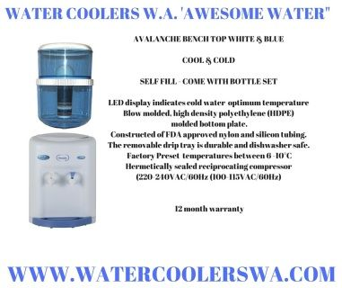 """Is designed to fit conveniently on a kitchen or office counter. This unique design offers effective cooling through the proven """"evaporator band"""" cooling technology. Great performance from a small dispenser! SPECIFICATIONS CABINET: Blow molded, high density polyethylene (HDPE) together with injection molded bottom plate. FAUCETS: Constructed of FDA approved nylon and silicon tubing. DRIP TRAY: The removable drip tray is durable and dishwasher safe. COLD WATER THERMOSTAT: Preset at factory to…"""