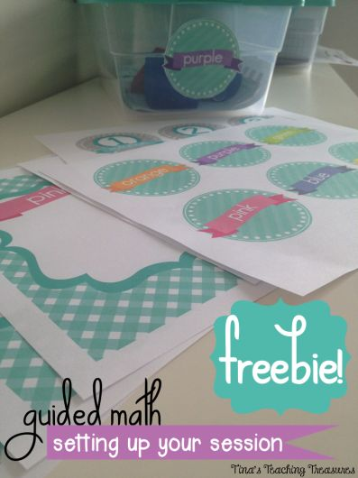 Guided Math Freebie! Bin labels and group organizing sheets in adorable preppy colours!