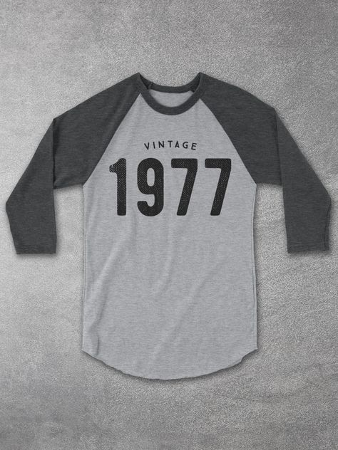 40th Birthday Gift Ideas - Vintage 1977 Baseball Tee - Retro style unisex raglan shirt - The perfect 40th birthday gift!