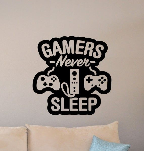 Gaming Wall Decal Gamers Never Sleep Quote Retro Gamer Room Sign Poster Gaming Vinyl Sticker Print G