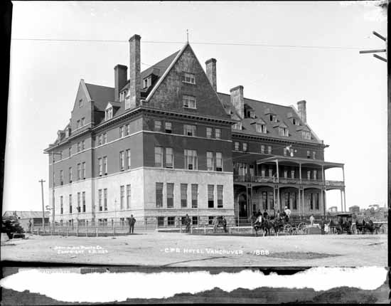 The exterior of the Vancouver Hotel in the late 1880's.