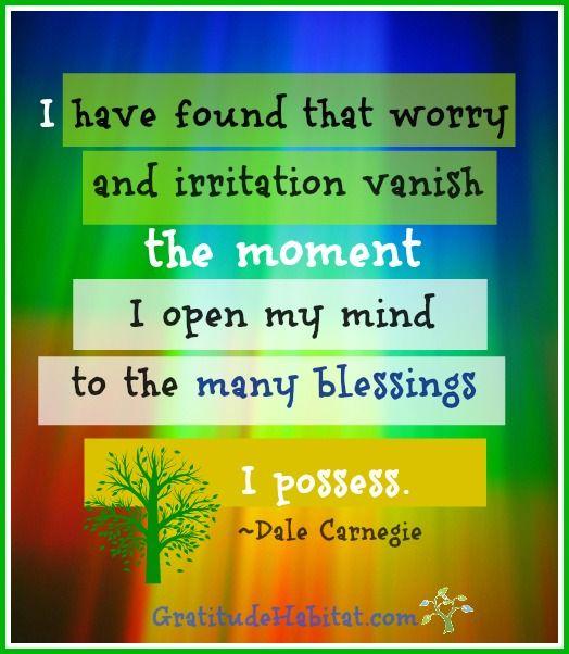 Worry and irritation vanish the moment I open my mind to the many blessings I possess.  ~Dale Carnegie www.GratitudeHabitat.com