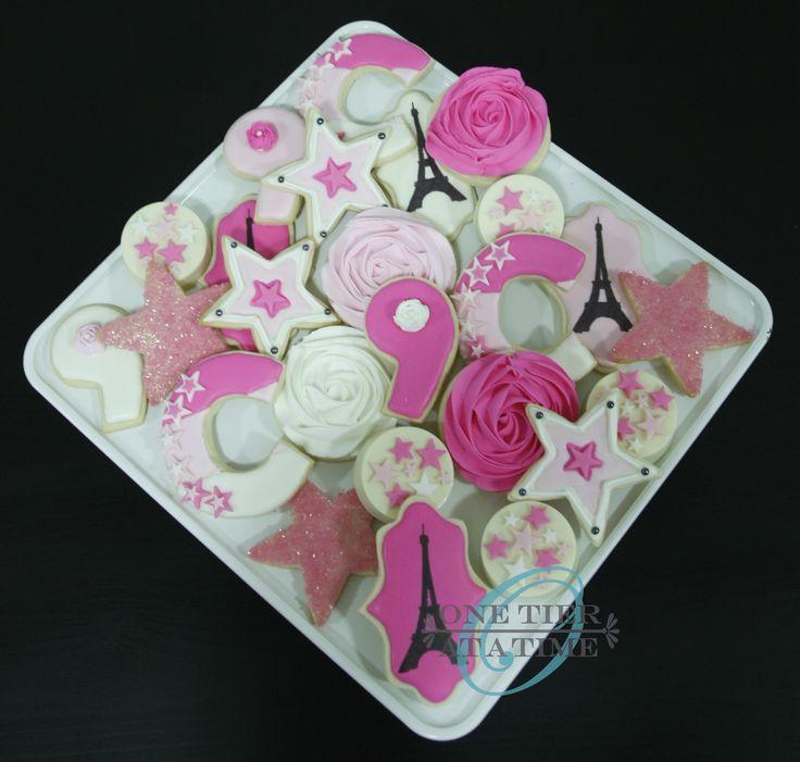 American Girl Paris themed sugar cookies - Eiffel Tower, rosettes, stars