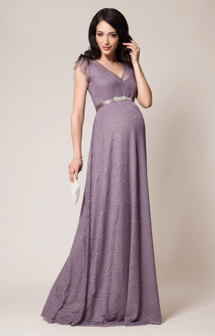 Romantic Kristin floor length lace maternity gown in a dreamy shade of Wisteria is so easy to accessorise for a special occasion.