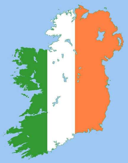 Map of Ireland in the Irish tricolor, green, white and ...