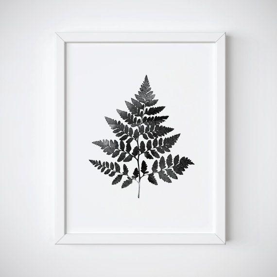 Botanical Print  Fern Leaf Print  Black and White by LuxeArtPrints